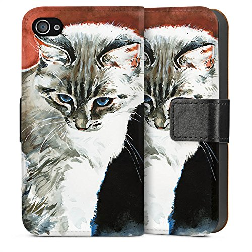 Apple iPhone 5s Housse Étui Protection Coque Chat Chaton Chat Sideflip Sac