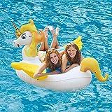 Einhorn Schwimmring Pool-Schwimmtier für Kinder Kleines Aufblasbarer Einhorn Schwimm Pool mit Flügel (Jaune 1)