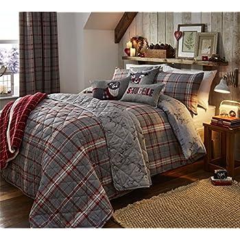 Highland Carreaux Cerf Rouge Argent Coton Brosse Simple Blanc Uni