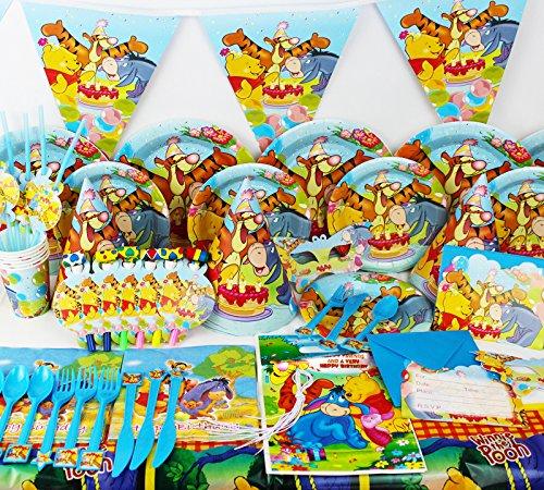 Winnie Pooh The Party Supplies (Winnie the Pooh komplett Party Supplies Kinder Set Geburtstag Teller Becher Serviette Party Taschen und)