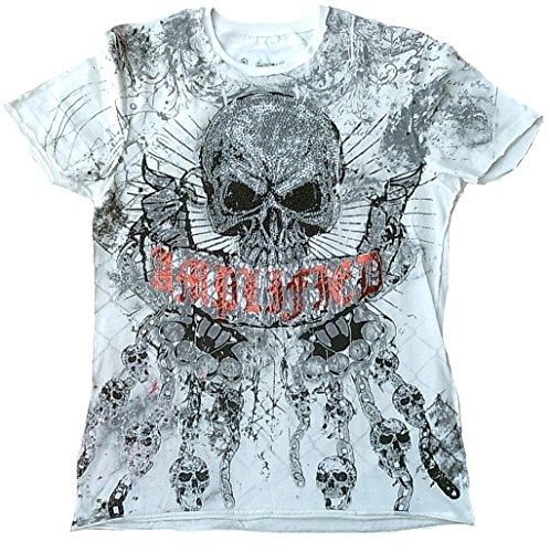 Amplified Herren T-Shirt Weiss White Saint Sinner GLORY SKULL Strass Schlagring Totenkopf Knast Ketten Designer Hammer Special Edition Rock Star Vintage Nähte Aussen Club Rockstar Design XL 54 (White Star Skull)
