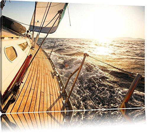 Segelboot im Meer Format: 120x80 auf Leinwand, XXL riesige Bilder fertig gerahmt mit Keilrahmen, Kunstdruck auf Wandbild mit Rahmen, günstiger als Gemälde oder Ölbild, kein Poster oder Plakat -