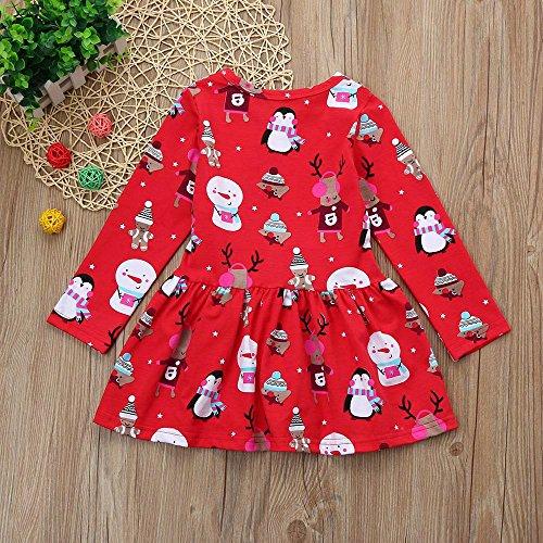 KINGWani ❤ Kleinkind Kind Baby Mädchen Weihnachtskleidung Langarm Pageant Party Prinzessin Kleid, für Kleinkind Kind Langarm Kleidung Anzüge