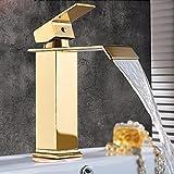 XHOPOS HOME Moderne Haus Küche Wasserfall Gold Kupfer Waschbecken im Bad Armaturen einzigen Griff Einloch