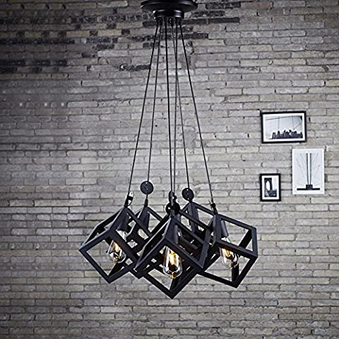 BJVB Marco de hierro cuadrado creativo moderno 6 cabeza Edison bombillas oliva jaula lámpara
