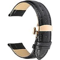 PZZZHF Genuine Leather Watchbands 12-24mm Universal Watch Pin Buckle Band Steel Buckle Strap Wrist Belt Bracelet With…