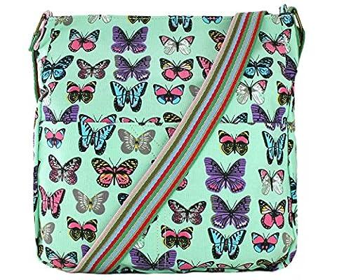 Miss Lulu Canvas Messenger Bag Butterfly Green L1104B GN