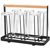 STAR WORK 6 Glass Holder and Glass Stand for Dining | Mug Cup Organiser Shelf for Kitchen with Wooden Handle