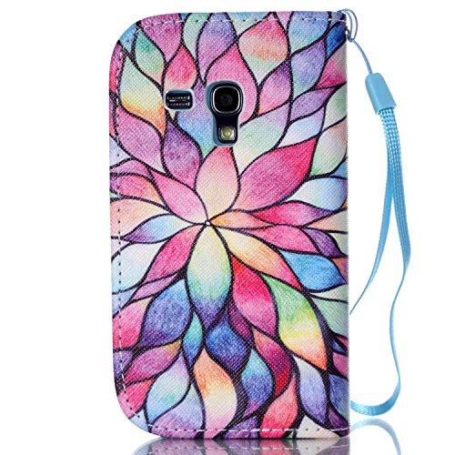 Meet de Samsung Galaxy S3 mini I8190 Bookstyle Étui Housse étui coque Case Cover smart flip cuir Case à rabat pour Galaxy S3 mini I8190 Coque de protection Portefeuille - this iphone is locked slide t couleur Lotus