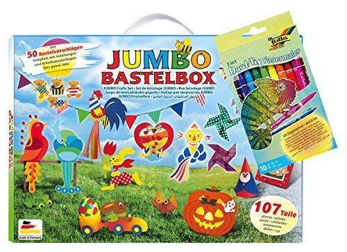 Folia 50915/2 Smart Bundle Jumbo Bastelbox 107 Teilig und 10 Dual Tip Fasermaler, Bunt