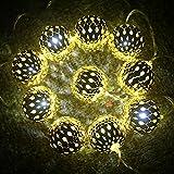 IntiPal 10er LED Lichterkette Silberne Goldene Roségold Kugeln Warmweiß Kaltweiß Bunt Weihnachtsdeko (Golden mit Kaltweiß)