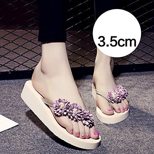 TONGS SANDALES Chaussons femme Chaussures de plage Chaussons femme Chaussons antidérapants (Rose / Bleu foncé / Bleu clair / Marron) élégant 3.5cm Pink