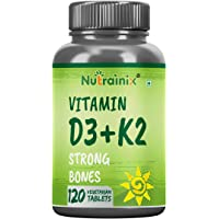 Nutrainix Vitamin D3 400Iu with K2 As Mk7 55Mcg Supplement - Vegetarian Tablets, 120 count
