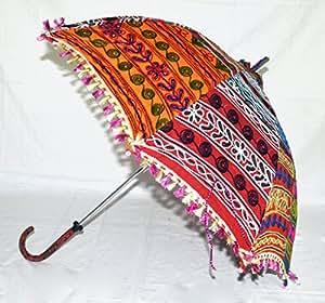 Lalhaveli Arbeit handgefertigt, Baumwolle, bestickt, Design Indian Tote Regenschirm Öffnen und Schließen 76 x 86 Cm, mehrfarbig