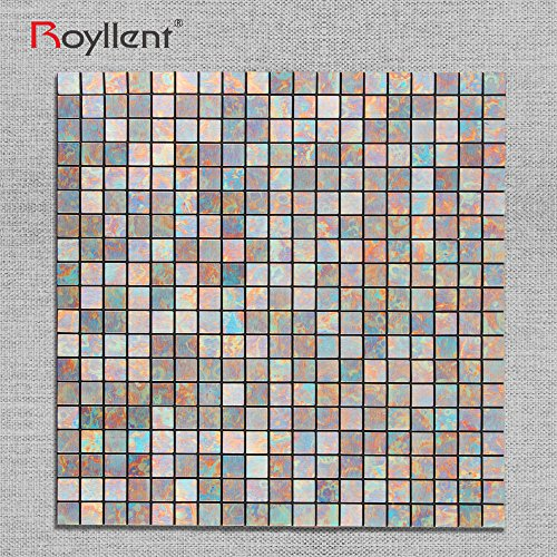 Royllent,Self Adhesive Aluminium Plastic Composite Mosaic,Peel And Stick,Metal Surface,Wall Sticker,Light weight,easy installation,renew old wall (Blue Peafowl) by Royllent