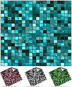 24 st ck fliesenaufkleber f r k che und bad tile style decals 24xtp3 6 turquoise mosaik. Black Bedroom Furniture Sets. Home Design Ideas