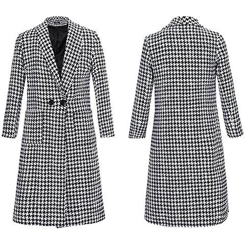 GSKBNT Autunno e inverno nuovo lana giacca a vento lunga stile medio donne cappotto , black and white , m