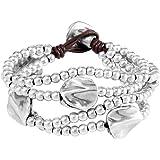 Uno De 50 Bracciale da donna Classics placcato argento in pelle con perla argento, 17 cm - PUL0854MTLMAR0M