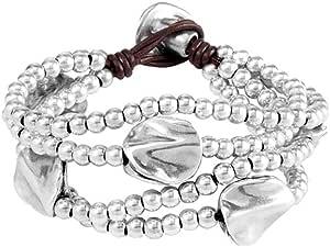 Uno de 50 Bracciale da donna Classics in pelle argentata, con perla in argento, 17 cm, PUL0854MTLMAR0M