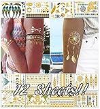 Metálico tatuajes temporales para las mujeres adolescentes Niñas–12hojas oro plata Tatuajes Temporales con purpurina de diseños de tatuajes joyería tatuajes–150+ color flash falsa impermeable tatuaje pegatinas