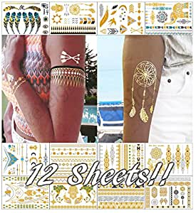 Metallic temporary transfer tattoos for women teens girls for Fake tattoos amazon