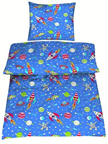 Aminata Kids - Kinderbettwäsche Bettwäsche Kinder 135x200 cm Baumwolle Jungen Weltraum Blau Rot Grün Weltall Sterne Sternen Planeten Mond Rakete Astronaut ★ VERBESSERTE QUALITÄT (Knopf-welt-taschen)