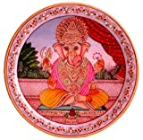 Handicraftstore Lord Ganesha Decorative Round Marble Plate Painting with Semi Precious Stones/Indian Handicraft Rajasthani Jaipur Art with Gold Foil/Spiritual Marble Puja Plate Religious Home Decor