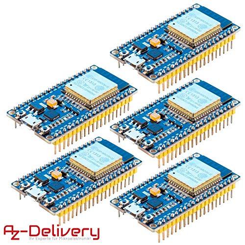 AZDelivery ⭐⭐⭐⭐⭐ 5 x ESP32 NodeMCU Module WLAN WiFi Development Board mit CP2102 (Nachfolgermodell zum ESP8266) und gratis eBook! -