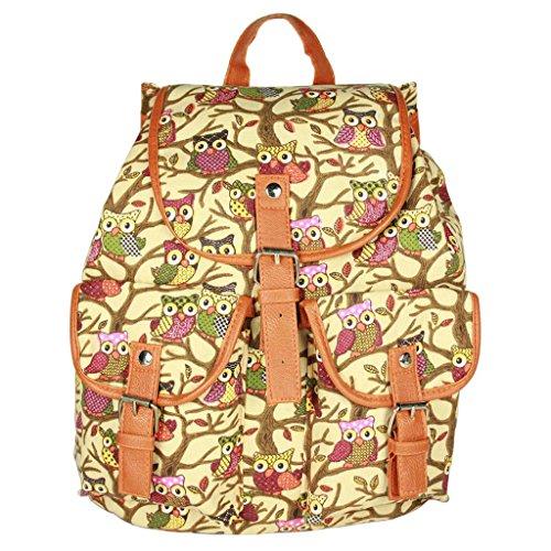 Sammua Owl Floral Lässige Daypack doppelten Schulter Rucksack mit Kordelzug Lederschnallen Satchel Rucksack für Mädchen - Beige Beige