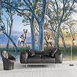 NXMRN Wallpaper Tapete Plakat Poster Fototapete Foto 3D Wald Big Tree Elch Ölgemälde Schlafzimmer Wohnzimmer Sofa TV Hintergrund Wandbild 260cmx180cm