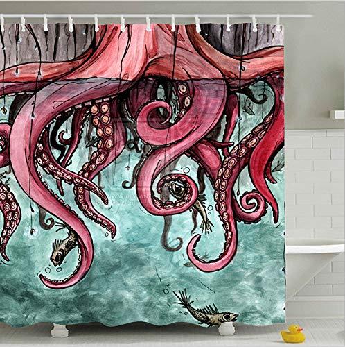 AZZXZONa Polyester 100% Stoff Bad Vorhang 180X200 cm Mit Haken 3D Red Octopus Print Duschvorhang Wasserdicht Schimmel Beweis Hotel Schlafzimmer Partition Decor -