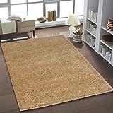 Hochflor Teppich | Shaggy Teppich fürs Wohnzimmer Modern & Flauschig | Läufer für Schlafzimmer, Esszimmer, Flur und Kinderzimmer | Langflor Carpet beige 040x060 cm