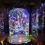 Sunix Lichterkette Kupferdraht, LED Lichterkette, 110 LED 11 Meter Sternklar Lichterketten RGB Dimmbar Beleuchtung Dekoration mit Fernbedienung für Weihnachten