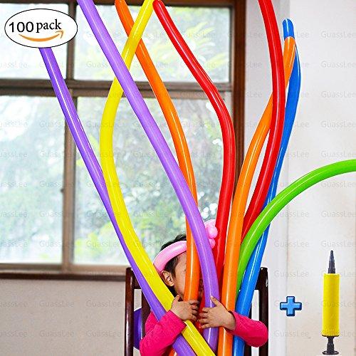 100pcs Modellierung Ballons Kit mit Pumpe - Dick Lange Magie Ballons - 260Q für Feiern Geburtstage Clowns Veranstaltungen Dekoration (Clown Kit)