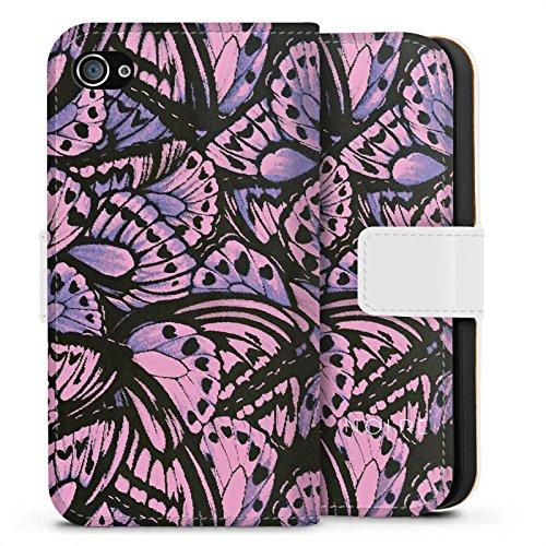 Apple iPhone X Silikon Hülle Case Schutzhülle Schmetterling Muster Flügel Sideflip Tasche weiß