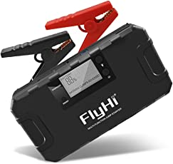FlyHi 800A 18000mAh Avviamento portatile per auto (fino a 6.5L Gas, 5.2L Diesel Engine) Booster di emergenza 12V con protezione Smart integrata, Power Bank con torcia a LED