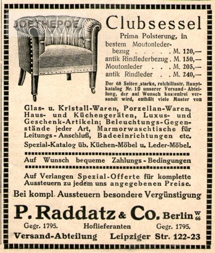 1913 - Anzeige / Inserat : CLUBSESSEL / RADDATZ & CO. - Format ca. 110x90 mm - alte Werbung /...