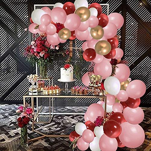 SPECOOL Geburtstagsdeko Rose Gold Happy Birthday Luftballons, 115 Stück Rosa Weiße Rote Gold Luftballons, Partyzubehör Ballons für Hochzeit und Geburtstag, Weihnachten, Brautgeschenke, Baby-Duschen