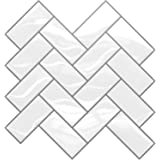 "SkyNature 10-Sheet Peel and Stick Tiles Backsplash, 12""x 12"" Waterproof White Herringbone Self Adhesive Wall Tile, Kitchen St"