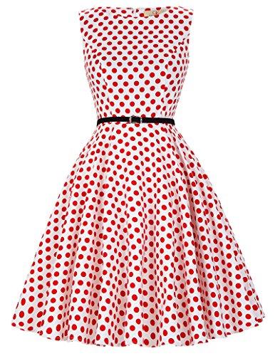 Vintage retro petticoat rockabilly kleid sommerkleid knielang Karnevalskostüm für Damen Größe 2XL CL6086-44 (Karnevalskostüme)