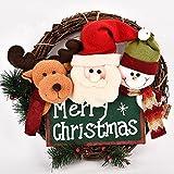 Weihnachts-Türkranz,Rote Beeren Adventskranz,Tannenkranz Weihnachten,Tannenzweigen/roten Beeren/Weihnachtsmann/Hirsch/Schneemann,Weihnachten Dekoratio