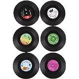 6sottobicchieri rotondi a forma di disco in vinile vintage