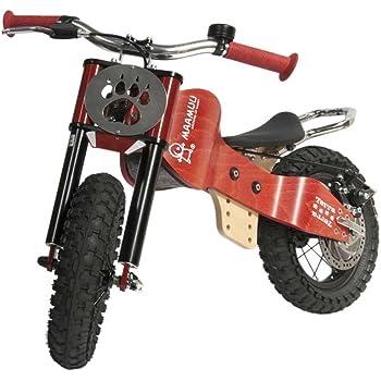 MAAMUU TERRA bici senza pedali off-road in legno naturale, balance bike rosso ciliegia, MADE IN ITALY