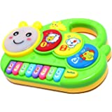 Tec Tavakkal Caterpillar Flashing Drum Piano Musical Toys for Babies and Kids Green Small Piano for Kids Musical Piano…