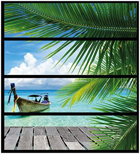 Wallario Möbelfolie/Aufkleber, geeignet für IKEA Malm Kommode - Sonnenboot in der Karibik mit 4 Schubfächern