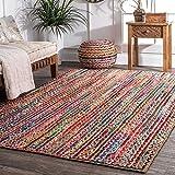 Fernish Decor Rectangle Jute & Cotton Rug Carpet, Multi Chindi Braid Rug, Hand Woven & Reversible, Multi-Color Vibrant Fabric Rags for Living Room Bedroom (3 x 5 Feet)
