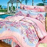 Weimilon Baumwolle Bettbezug Blumen,Einzigen,Student,Individuell,Double,Vier Jahreszeiten A Casual Chic 150X215Cm(59X85Inch) (Color : T, Size : 220 * 240Cm)