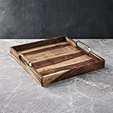 "Nestroots Wooden Serving Tray With Brass Handle | Sheesham Wood | Handmade | 15"" X 12"" - Set Of 2"