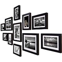 Art Street Boulevard Set of 11 Individual Photo Frames/Wall Hanging (8x10-3 pcs, 6x8 -8 pcs)-Black