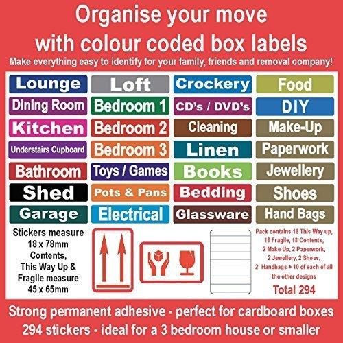 294 - Heim Moving farbcodierter Kiste Etiketten / Aufkleber - Ordnen von ihr Haus Umzug (294 Aufkleber)